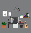 woman work office room interior workspace vector image vector image