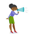 young african feminist shouting into a megaphone vector image