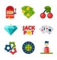 Casino flat icons vector image