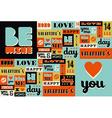 Happy Valentines Day retro vintage pattern vector image