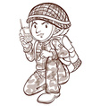 A plain sketch of a soldier vector image vector image
