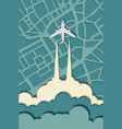 airplane in the clouds flying over the city vector image vector image