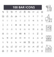 bar editable line icons 100 set vector image vector image