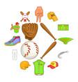 baseball icons set cartoon style vector image vector image