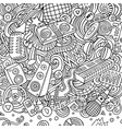 cartoon doodles disco music frame vector image vector image