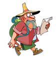 cartoon man with a backpack and hat goes vector image vector image