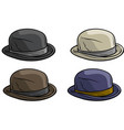 cartoon old gentleman retro hat icon set vector image vector image