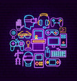 cyber game neon concept vector image vector image