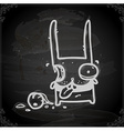 Decapitated Bunny Drawing on Chalk Board vector image vector image