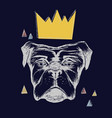dog and crown vector image vector image