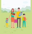 family together on vacation with pet in park vector image vector image