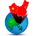 Flag China map on the earth vector image vector image