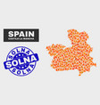 flame mosaic castile-la mancha province map and vector image vector image