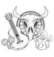 guitar maracas cow skull on a wheel coloring of a vector image vector image