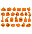 happy halloween pumpkin with creepy face icon set vector image