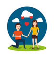 happy man on his knee proposal woman valentines vector image