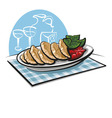 liver goose with cranberry sauce vector image