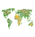 map of earth animals isolated continents and vector image vector image