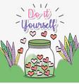 mason jar hearts love leaves grass decoration vector image