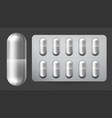 medical pill packaging with capsules illness and vector image