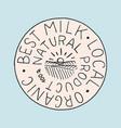 milk label vintage meadow logo for shop badge vector image vector image