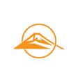 mountain sun overlapping flat monogram logo vector image vector image
