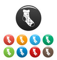 one sock icons set color vector image vector image