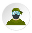 paintball player icon circle vector image vector image