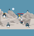 penguins have lunch on rocky shore vector image
