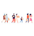 people with paper bags zero waste family vector image