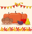 pumpkins food for thanksgiving day with set icons vector image vector image