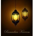 ramadan kareem lanterns or fanous in a dark vector image