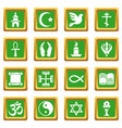 religion icons set green square vector image vector image
