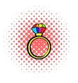 Ring with rainbow diamond icon comics style vector image
