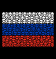 russia flag pattern of alien face items vector image