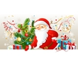 Santa Claus with blank board vector image