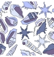 seamless background with different shells vector image vector image