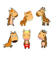 set of funny cartoon giraffe on white background vector image