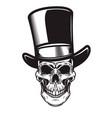 skull in retro hat in engraving style design vector image