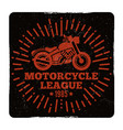 vintage grunge motorcycle league emblem design vector image