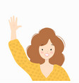 woman in a yellow sweater is smiling and waving vector image