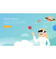 women wearing virtual reality glasses in universe vector image vector image