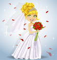 Wonderful shining bride with bouquet vector image vector image