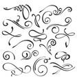 calligraphic swirls element set vector image