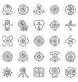 360-degree camera outline icons set 360 vector image