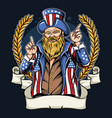 american man with mustache and beard wearing coat vector image vector image