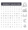 beauty salon editable line icons 100 set vector image vector image