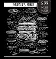 burger menu with composition products in vector image
