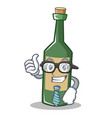 businessman wine bottle character cartoon vector image