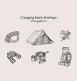 camping outdoor drawings set vector image